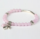 Nice Round Pink Jade and Tibet Silver Tube Heart Charm Beaded Bracelet