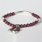 Fashion Round Purple Cats Eye and Tibet Silver Tube Heart Charm Beaded Bracelet