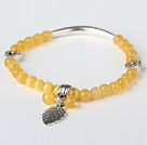 Vakker Round Yellow Cats Eye og Tibet Silver Tube Hjerte Leaf Charm Beaded armbånd