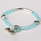 Nice Round Sky Blue Cats Eye and Tibet Silver Tube Heart Charm Beaded Bracelet