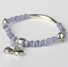 Pretty Round Light Purple Cats Eye and Tibet Silver Tube Heart Charm Beaded Bracelet