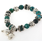 Wonderful Faceted Round Phoenix Stone Bracelet With Tibet Silver Fish Flower Accessories