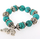 Fashion Round Burst Pattern Green Turquoise Bangle Bracelet With Tibet Silver Fish Lucky Bag Accessories