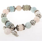 Beautiful Multi Color Round Morganite Stone Beaded Bracelet With Tibet Silver Fish Lucky Bag Accessories