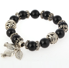Nice Round Black Agate Beaded Bangle Bracelet With Tibet Silver Fish Leaf Accessories