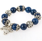 Nice Round Blue Agate Beaded Bangle Bracelet With Tibet Silver Fish Lucky Bag Accessories