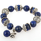 Nice Round Lapis Beaded Bangle Bracelet With Tibet Silver Cap Charm Accessories