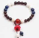 Nice 12mm Round Rose Pink Agate Beaded Bracelet With Tibet Silver Fish Ball Cap Charm Accessories