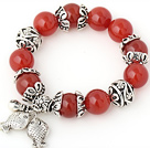Nice 14mm Round Orange Red Agate Beaded Bracelet With Tibet Silver Fish Ball Cap Charm Accessories