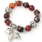 Fashion Faceted Round Agate Beaded Bracelet With Tibet Silver Fish Ball Cap Charm Accessories