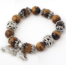 Wholesale Fashion Round Tiger Eye Beaded Bracelet With Tibet Silver Fish Ball Cap Charm Accessories