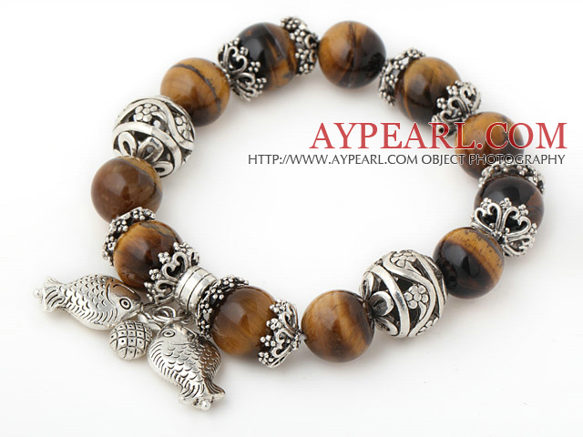 Fashion Round Tiger Eye Beaded Bracelet With Tibet Silver Fish Ball Cap Charm Accessories