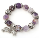 Pretty Big Round Frost Amethyst Beaded Bracelet With Tibet Silver Fish Ball Cap Charm Accessories
