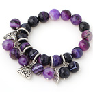 Fashion Faceted Round Purple Banded Agate Beaded Bracelet With Tibet Silver Leaf Triangle Charm Accessories