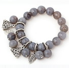 Fashion 12mm Faceted Round Gray Agate Beaded Bracelet With Tibet Silver Triangle Leaf Charm Accessories