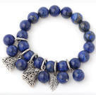Nice Round Lapis Stone Beaded Bracelet With Tibet Silver Leaf Triangle Charm Accessories