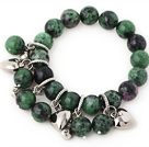 Fashion Round Red-Green Zoisite Beaded Bracelet With Tibet Silver Heart Lucky Bag Charm Accessories