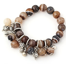 Nice Faceted Round Banded Agate Beaded Bracelet With Tibet Silver Lucky Bag Charm Accessories