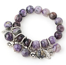 Pretty Round Charoite Beaded Bracelet With Tibet Silver Heart Rabbit Leaf Charm Accessories