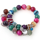 Fashion Faceted Round Multi Colorful Agate Beaded Bracelet
