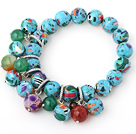 Beautiful 12-14mm Round Colorful Xingjiang Agate Beaded Bracelet