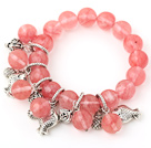 Wholesale Fashion Round Cherry Quartz Beaded Bracelet With Tibet Silver Fish Lucky Bag Charm Accessories