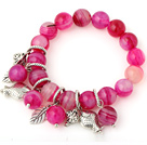 Elegant Round Rose Agate Beaded Bracelet With Tibet Silver Fish Leaf Charm Accessories