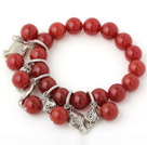 Nice A Grade Round Red Agate Beaded Bracelet With Tibet Silver Fish Lucky Bag Charm Accessories