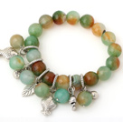 Fashion Faceted Round Peacock Agate Beaded Bracelet With Tibet Silver Fish Lucky Bag Leaf Charm Accessories