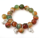 Fashion Big Round Peacock Agate Beaded Bracelet With Tibet Silver Fish Charm Accessories