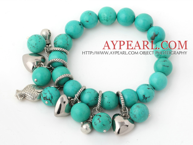 Beautiful Round Green Turquoise Beaded Bracelet With Tibet Silver Fish Lucky Bag Heart Charm Accessories