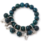 Nice Round Phoenix Stone Beads Bracelet With Tibet Silver Fish Lucky Bag Charm Accessories
