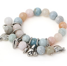 Fashion Round Multi Color Morganite Stone Beads Bracelet With Tibet Silver Fish Rabbit Lucky Bag Charm Accessories