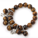 Wholesale Pretty 12mm Round Tiger Eye Beaded Bracelet With Tibet Silver Fish Lucky Bag Charm Accessories