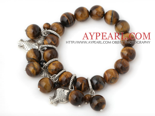 Pretty 12mm Round Tiger Eye Beaded Bracelet With Tibet Silver Fish Lucky Bag Charm Accessories