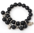 Pretty 12mm Round Black Agate Beaded Bracelet With Tibet Silver Fish Charm Accessories