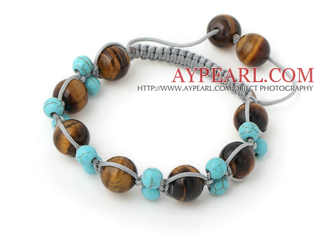 Simple Style Round Blue Turquoise And Tiger Eye Drawstring Bracelet With Adjustable Gray Threads