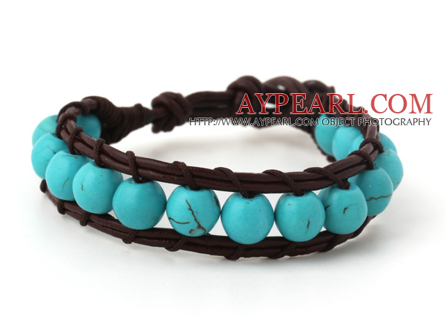 Fashion 8mm Round Blue Turquoise Hand Knotted Brown Leather Wrap Bracelet