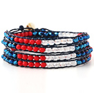 Fashion Multilayer Red Blue Jade-Like And White Crystal Hand-Knotted Blue Leather Wrap Bracelet