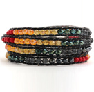 Pretty Multilayer Multi Colorful Jade-Like Crystal Hand-Knotted Black Leather Wrap Bracelet