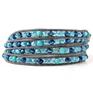 Pretty Multilayer Blue Series Jade-Like Crystal Hand-Knotted Gray Leather Wrap Bracelet