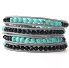 Nice Multilayer Green Jade-Like And Black Crystal Hand-Knotted Gray Leather Wrap Bracelet