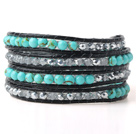 Nice Multilayer Green Jade-Like And Gray Crystal Hand-Knotted Black Leather Wrap Bracelet