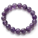 Wholesale Chic Simple Design Single Strand 10mm Round Natural Faceted Amethyst Beads Elastic Bracelet