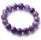 Wholesale Chic Simple Design Single Strand 12mm Round Natural Faceted Amethyst Beads Elastic Bracelet