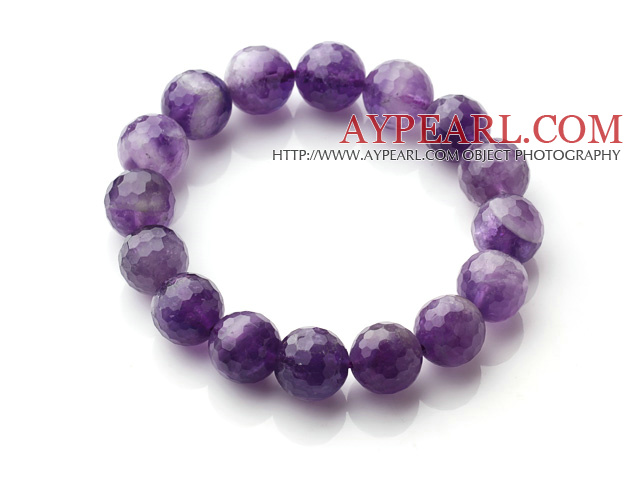 Chic Simple Design Single Strand 12mm Round Natural Faceted Amethyst Beads Elastic Bracelet
