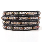 Fashion Multilayer Multi Color Jade-Like Crystal Hand-Knotted Brown Leather Wrap Bracelet