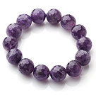 Chic Simple Design Single Strand 14mm Round Natural Faceted Amethyst Beads Elastic Bracelet
