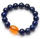 Classic Single Strand Natural Round Lapis And Oval Shape Orange Amber Elastic Bracelet