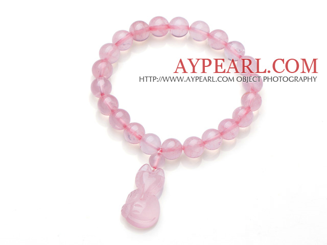 Beautiful Round Rose Quartz Beads Elastic Bracelet With Fox Pendant